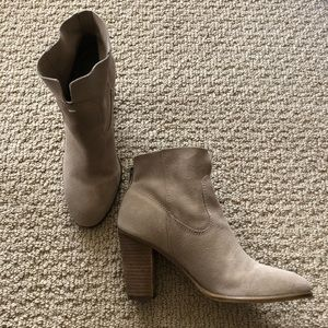 Vince Camuto Taupe Suede Slip On Booties